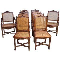 Set of 10 LXVI Chairs with Pair of Arms and 8 Side Chairs, Caned Seat and Back