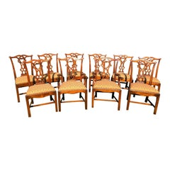 Set of 10 Mahogany Chippendale Dining Chairs