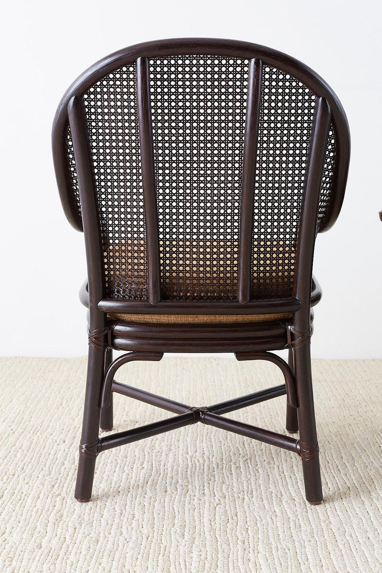 Set of 10 McGuire Rattan Cane Belden Dining Chairs For Sale 10
