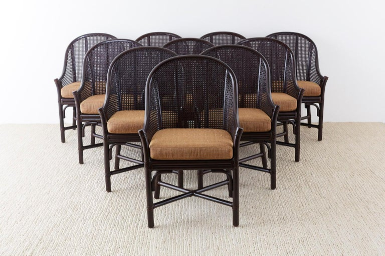 Organic Modern Set of 10 McGuire Rattan Cane Belden Dining Chairs For Sale