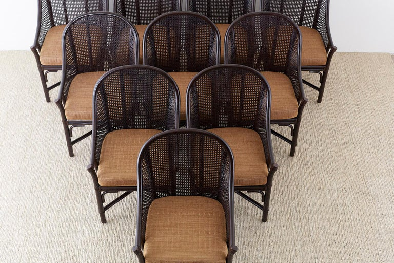 Hand-Crafted Set of 10 McGuire Rattan Cane Belden Dining Chairs For Sale