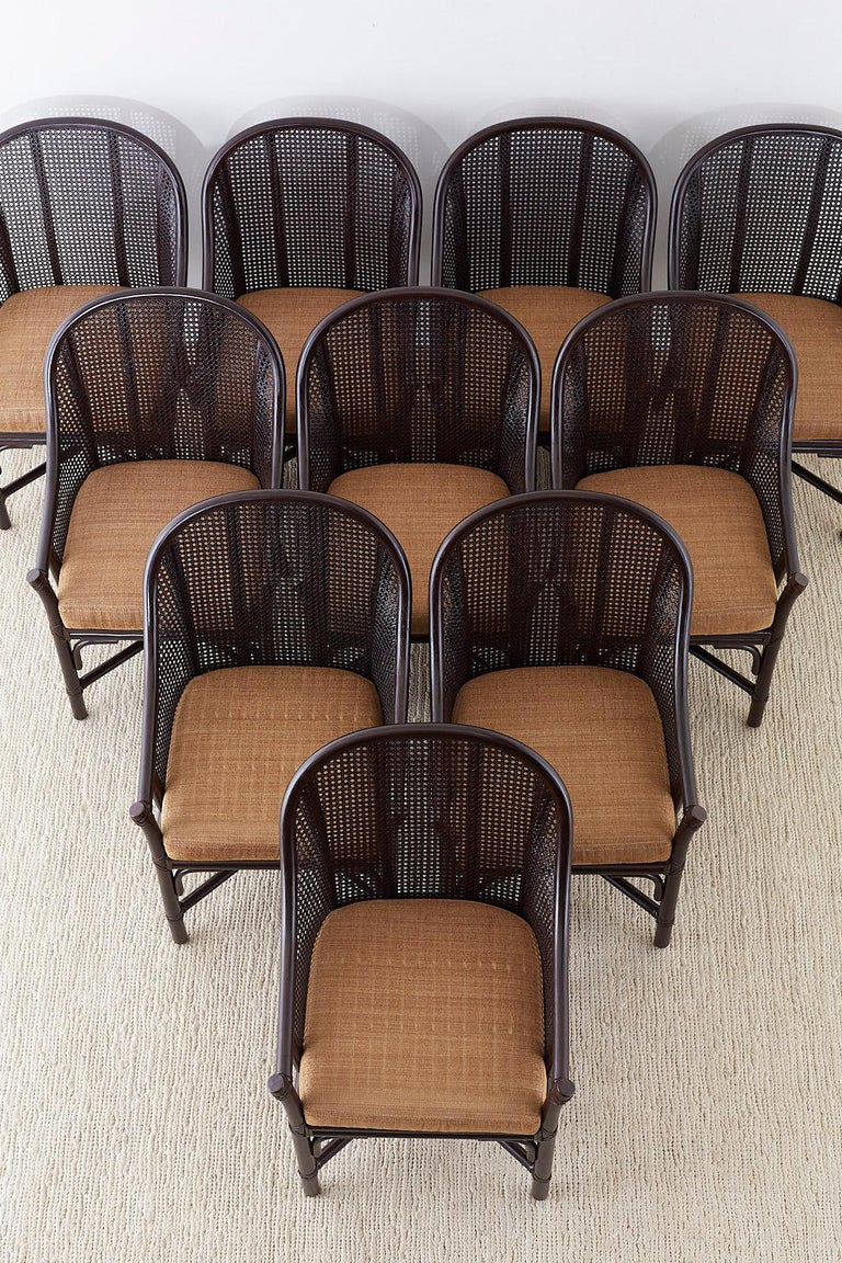 Set of 10 McGuire Rattan Cane Belden Dining Chairs In Excellent Condition For Sale In Oakland, CA