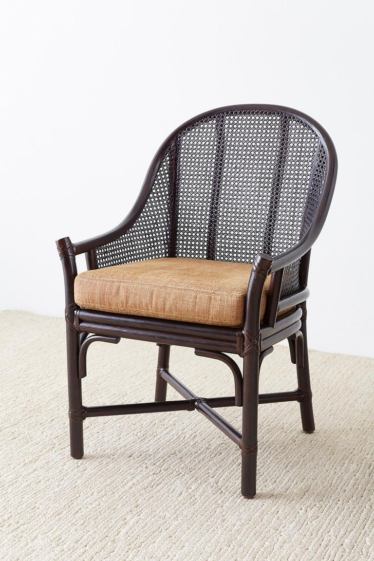 Contemporary Set of 10 McGuire Rattan Cane Belden Dining Chairs For Sale