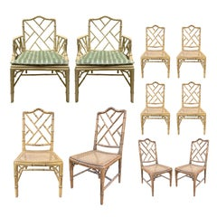 Set of 10 Mid-20th Century Faux Bamboo Dining Chairs with Cane Seats