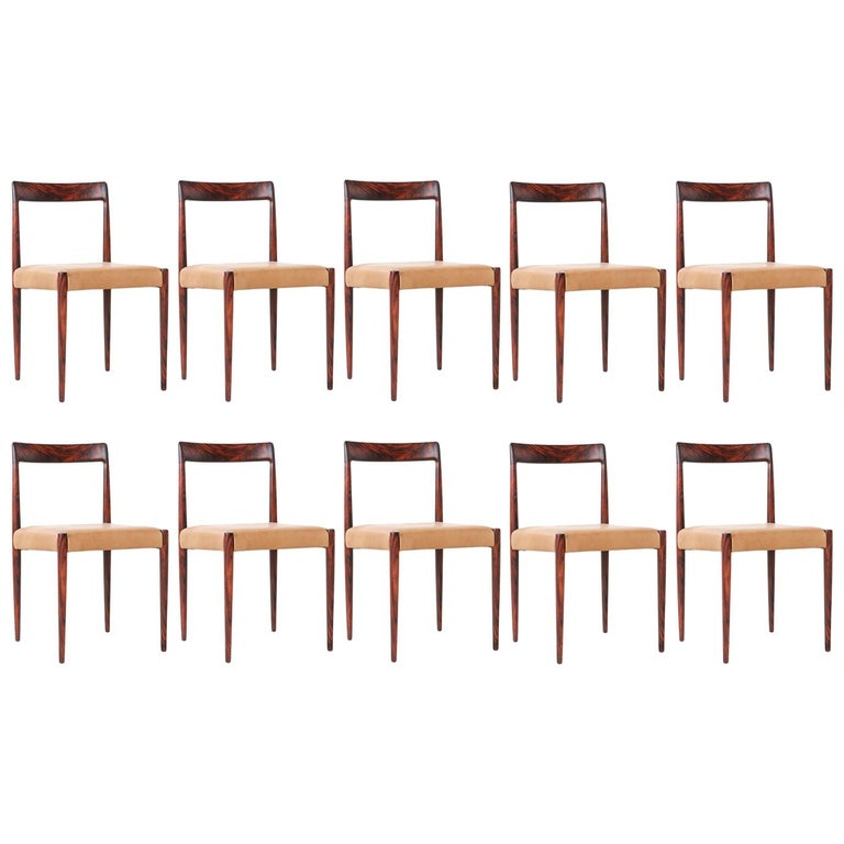 Set of 10 Mid-Century Modern Rosewood and Leather Dining Chairs by Lübke