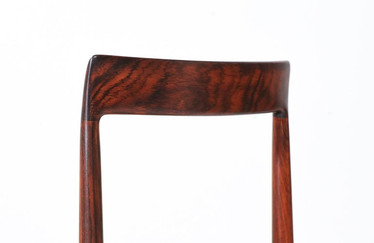 Set of 10 Mid-Century Modern Rosewood and Leather Dining Chairs by Lübke 5