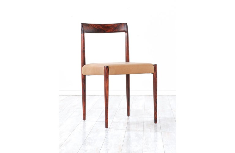 Set of 10 Mid-Century Modern Rosewood and Leather Dining Chairs by Lübke 7