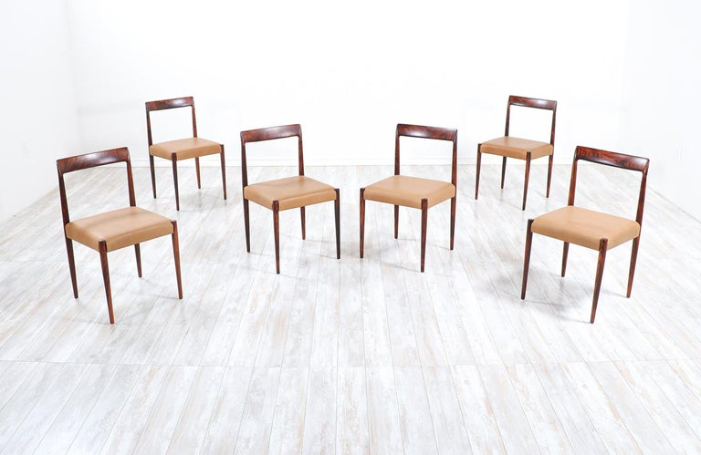 German Set of 10 Mid-Century Modern Rosewood and Leather Dining Chairs by Lübke