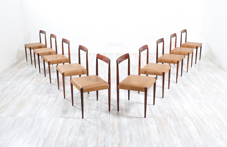Set of 10 Mid-Century Modern Rosewood and Leather Dining Chairs by Lübke In Excellent Condition In Los Angeles, CA