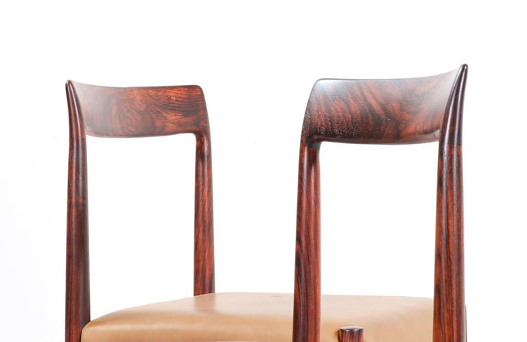 Set of 10 Mid-Century Modern Rosewood and Leather Dining Chairs by Lübke 2
