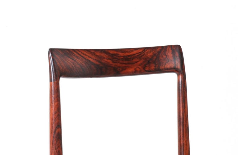 Set of 10 Mid-Century Modern Rosewood and Leather Dining Chairs by Lübke 3