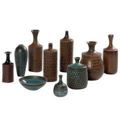 Set of 10 Midcentury Stoneware Vases Signed by Stig Lindberg for Gustavsberg