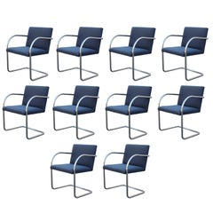 Set of 10 Mies van der Rohe for Knoll Tubular Chrome Brno Dining Chairs