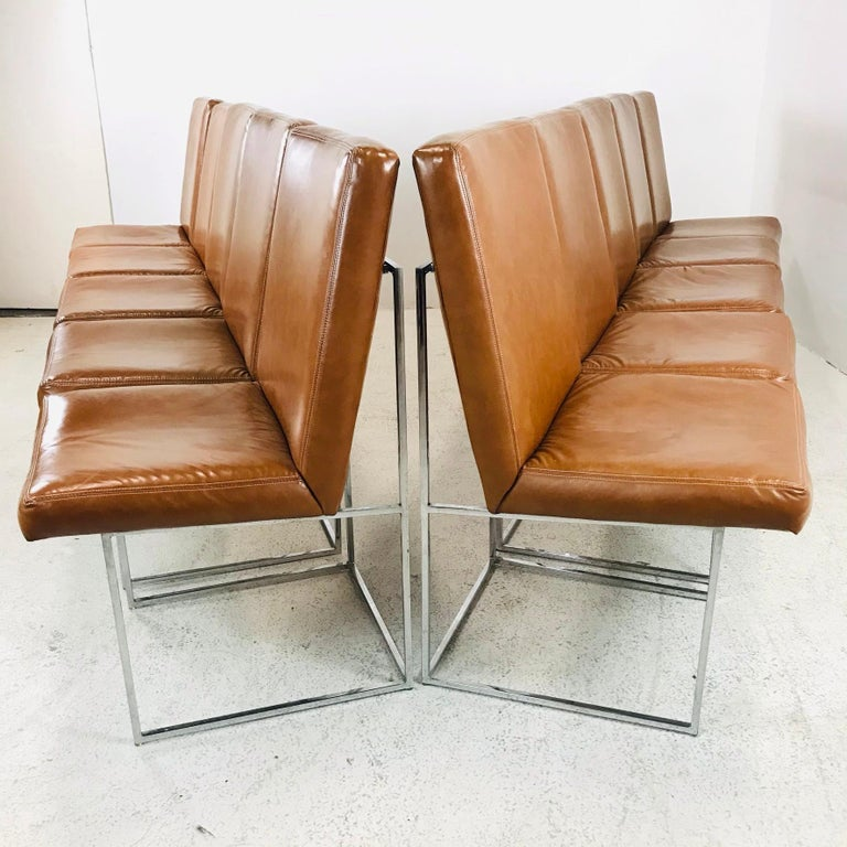 Milo Baughman for Thayer Coggin set of 10 leather dining chairs on chrome architectural box bases. Beautiful set in good vintage condition. Chairs include original tags with 1978 production date.