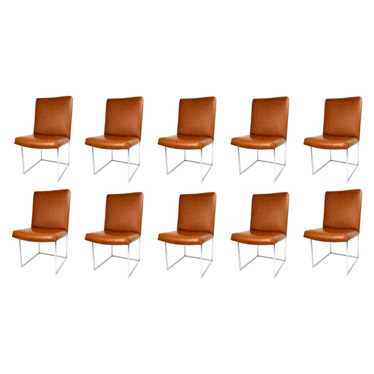 Set of 10 Milo Baughman Dining Chairs For Sale