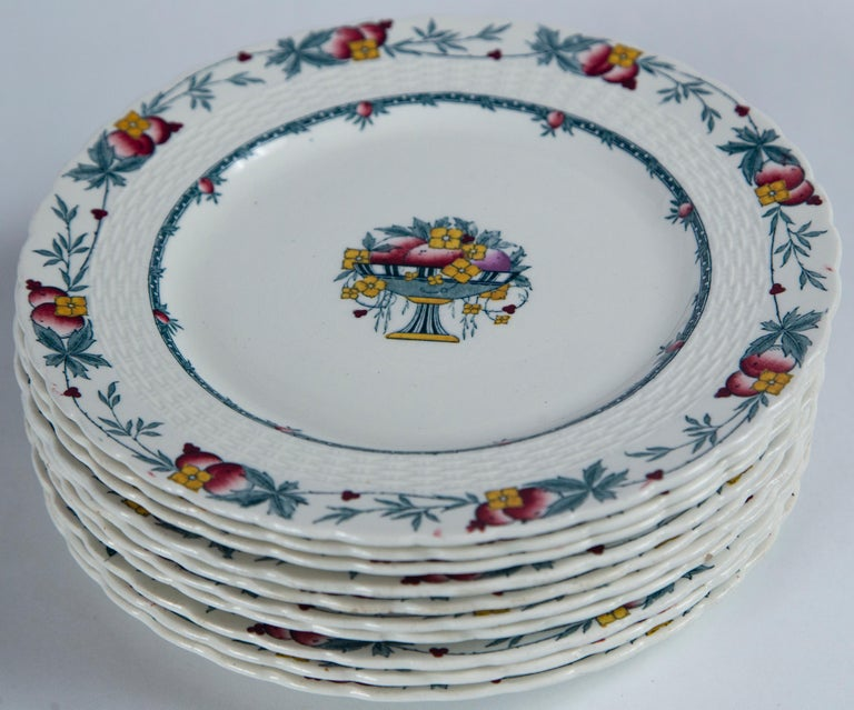 Set of 10 Minton's Stanhope Plates, England, circa 1900 In Good Condition For Sale In Chappaqua, NY