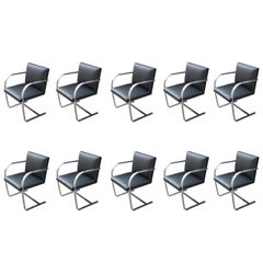 Set of 10 Modern Mies Van Der Rohe for Knoll Flat Bar Chrome Brno Dining Chairs