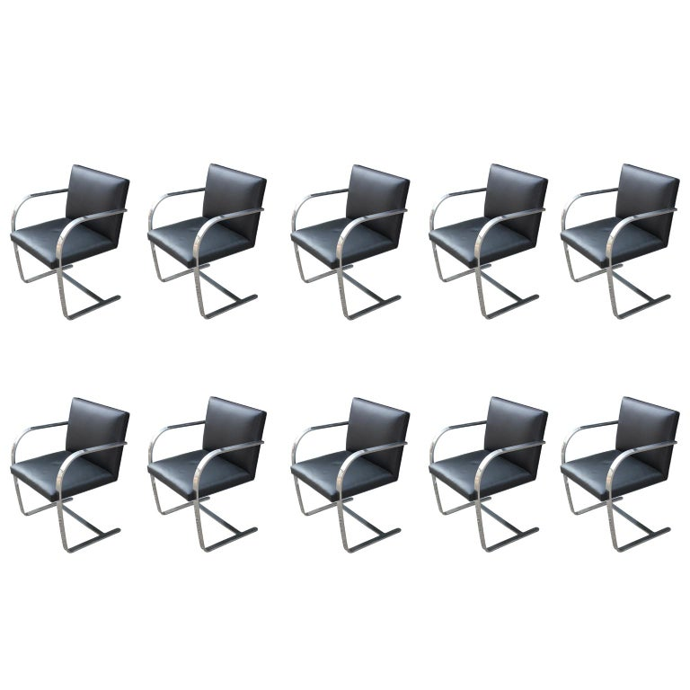 Set of 10 Modern Mies Van Der Rohe for Knoll Flat Bar Chrome Brno Dining Chairs For Sale