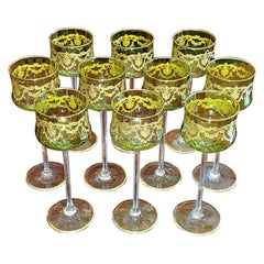 Set of 10 Moser Glass Green and Gold Tall Wine Goblets