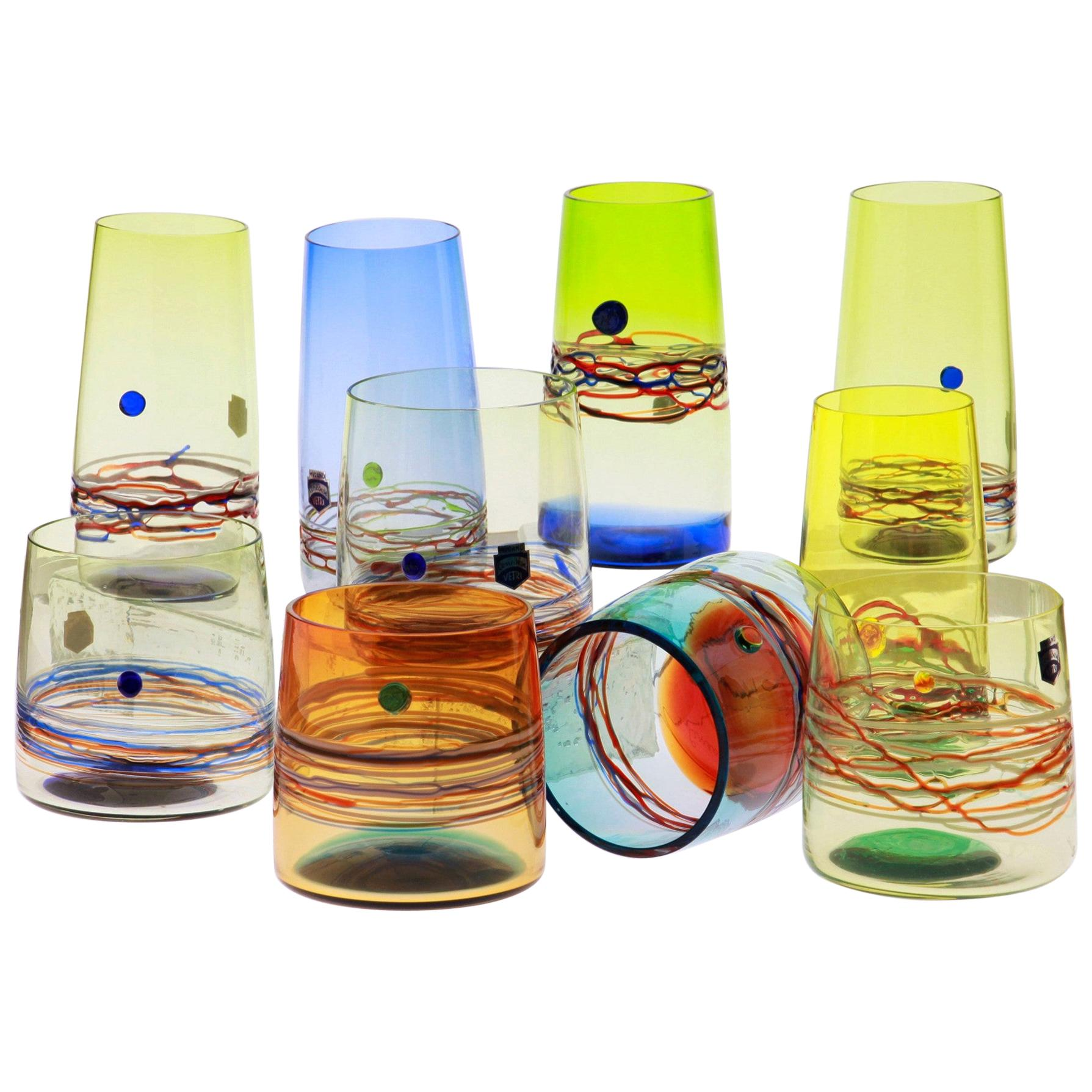 Set of 10 Murano Long Drink and Tumblers Cenedese Murano 1960, Young Collection