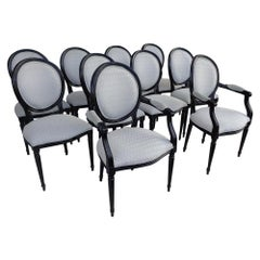 Set of 10 Neoclassical Louis XVI Style Dining Chairs