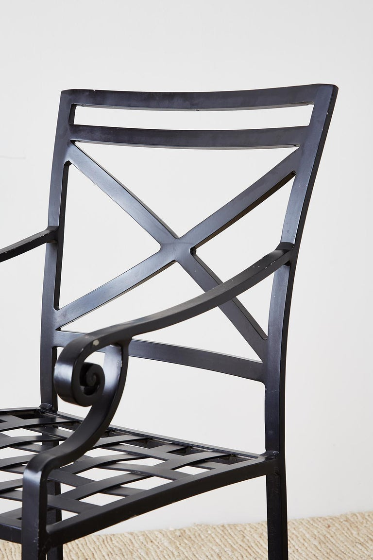 Set of 10 Neoclassical Style Aluminum Patio Garden Chairs For Sale 5