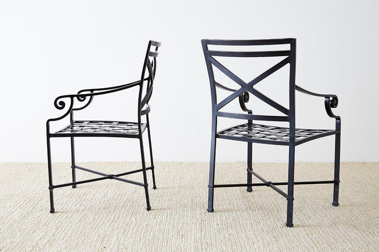 Set of 10 Neoclassical Style Aluminum Patio Garden Chairs For Sale 9