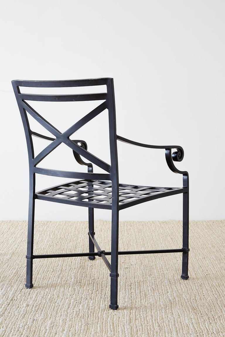 Set of 10 Neoclassical Style Aluminum Patio Garden Chairs For Sale 11