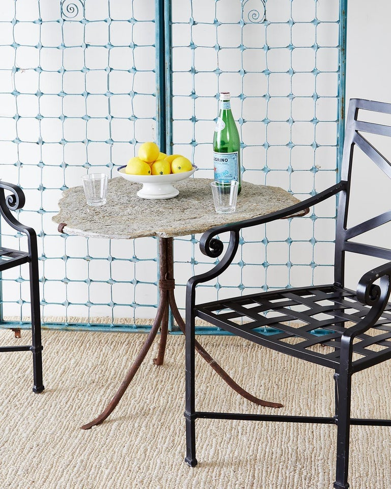 Painted Set of 10 Neoclassical Style Aluminum Patio Garden Chairs For Sale