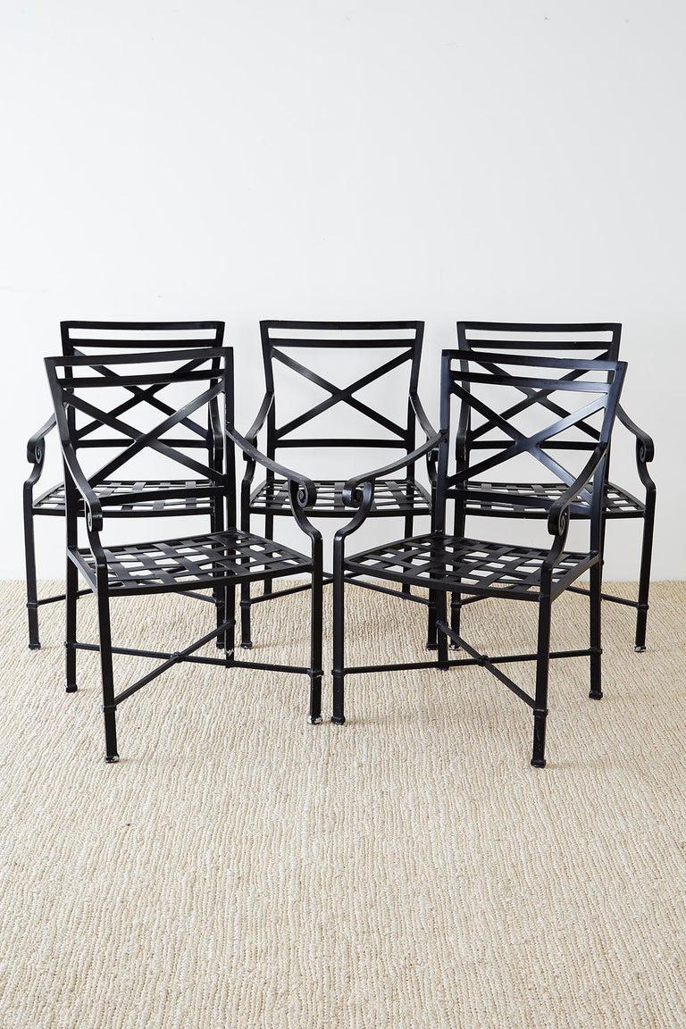 Set of 10 Neoclassical Style Aluminum Patio Garden Chairs In Good Condition For Sale In Oakland, CA