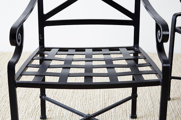 20th Century Set of 10 Neoclassical Style Aluminum Patio Garden Chairs For Sale