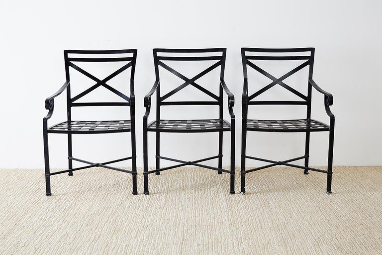 Set of 10 Neoclassical Style Aluminum Patio Garden Chairs For Sale 1