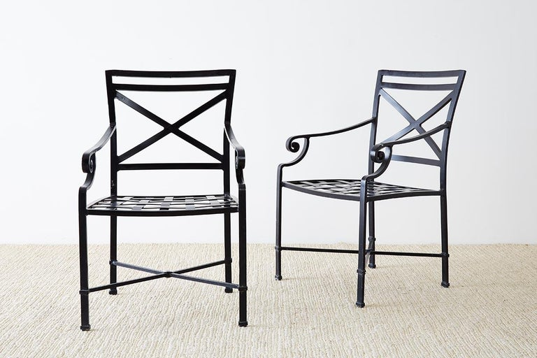 Set of 10 Neoclassical Style Aluminum Patio Garden Chairs For Sale 3