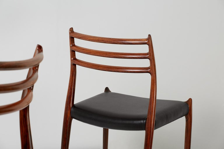 Set of 10 Niels Møller Model 78 Rosewood Dining Chairs, 1962 For Sale 4