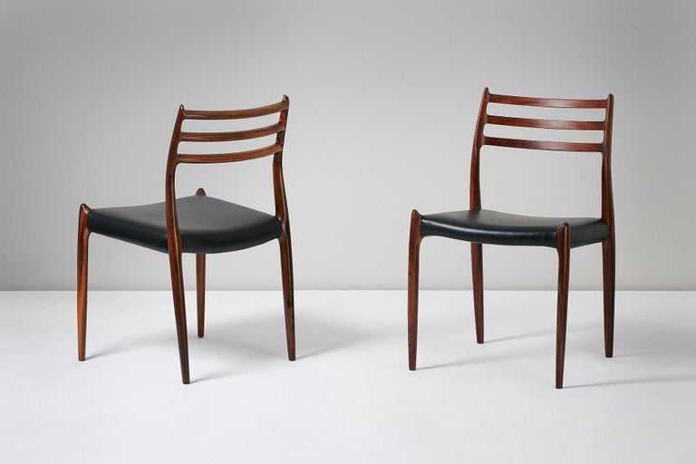 Set of 10 Niels Møller Model 78 Rosewood Dining Chairs, 1962 For Sale 5