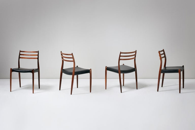 Set of 10 Niels Møller Model 78 Rosewood Dining Chairs, 1962 For Sale 6