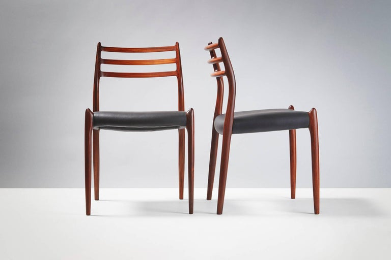Scandinavian Modern Set of 10 Niels Møller Model 78 Rosewood Dining Chairs, 1962 For Sale