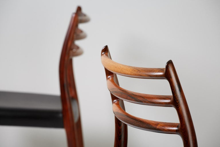 Danish Set of 10 Niels Møller Model 78 Rosewood Dining Chairs, 1962 For Sale