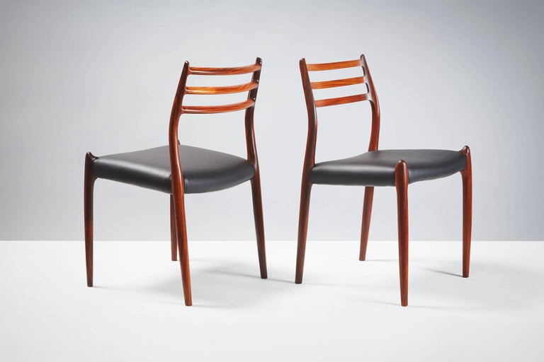 Set of 10 Niels Møller Model 78 Rosewood Dining Chairs, 1962 In Excellent Condition For Sale In London, GB