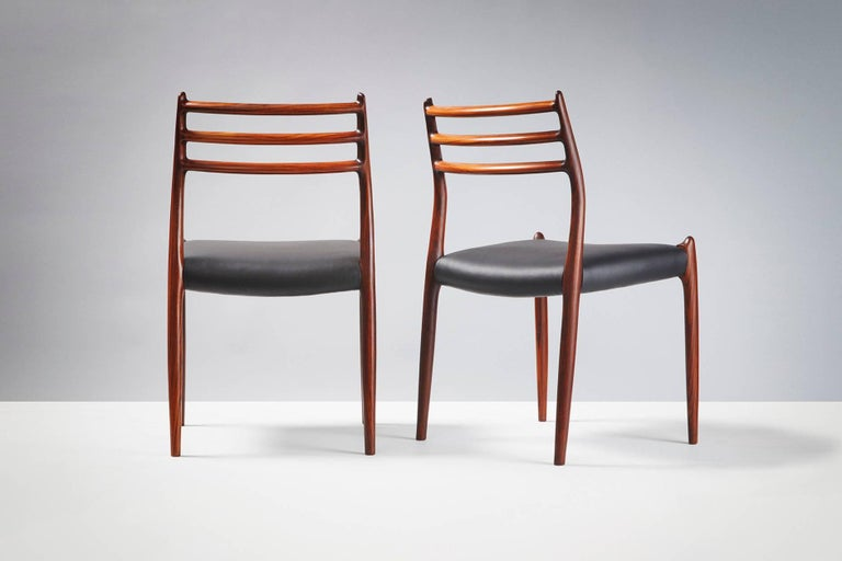 1960s Set of 10 Niels Møller Model 78 Rosewood Dining Chairs, 1962 For Sale