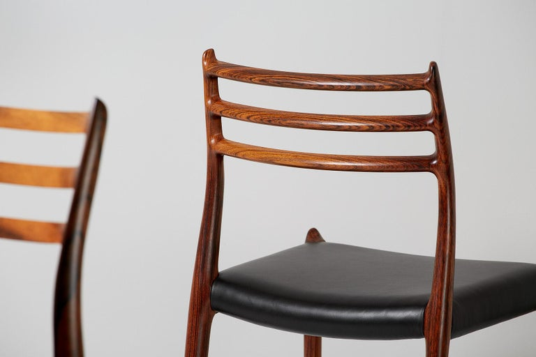 Set of 10 Niels Møller Model 78 Rosewood Dining Chairs, 1962 For Sale 2
