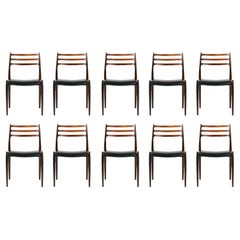 Set of 10 Niels Møller Model 78 Rosewood Dining Chairs, 1962