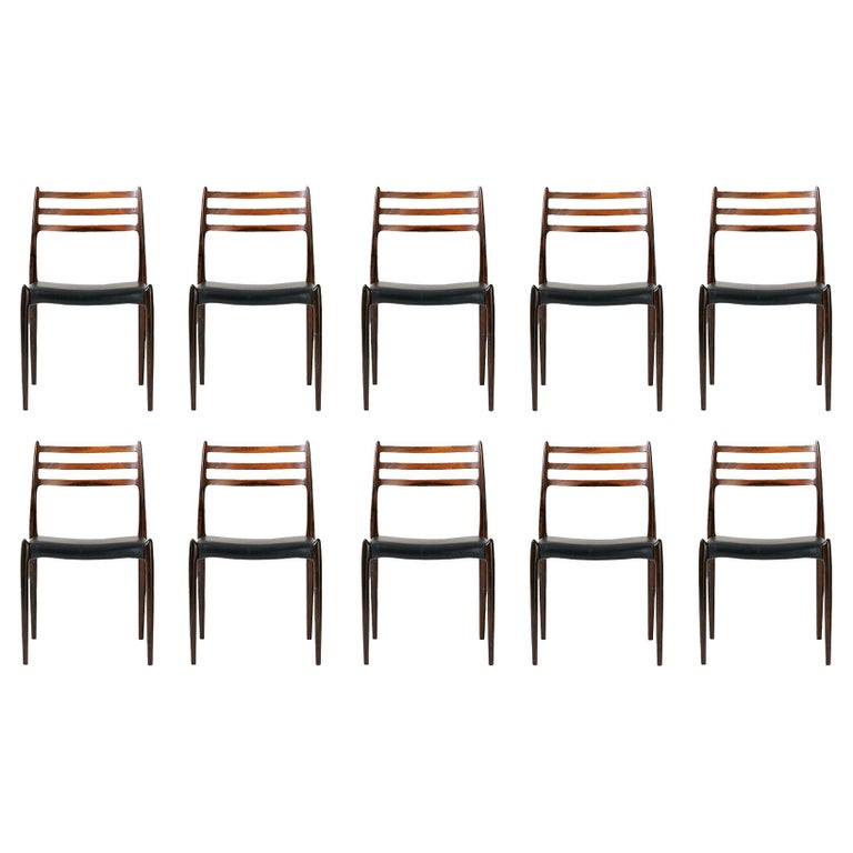 Set of 10 Niels Møller Model 78 Rosewood Dining Chairs, 1962 For Sale