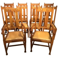 Set of 10 Oak Arts & Crafts Period Dining Chairs by Shapland & Petter
