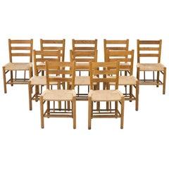 """Set of 10 Oak & Paper Cord """"Church Chairs"""" by Viggo Hardie-Fischer, Denmark"""