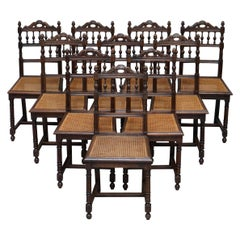 Set of 10 Original Victorian Carved Oak Dining Chairs with Berger Rattan Seats