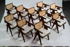 Set of 10 Pierre Jeanneret Office  Chairs