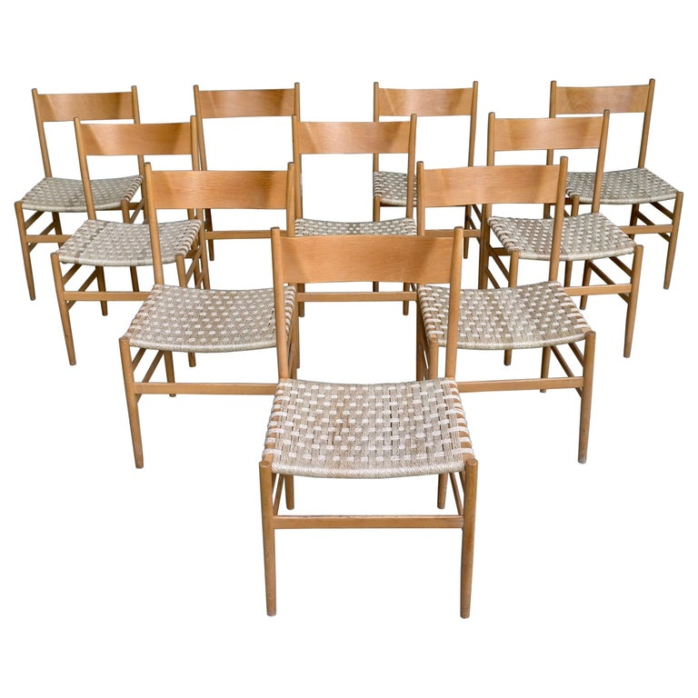 """Set of 10 Plywood """"Leggera"""" Chairs with Woven Seats, Italy, 1955"""