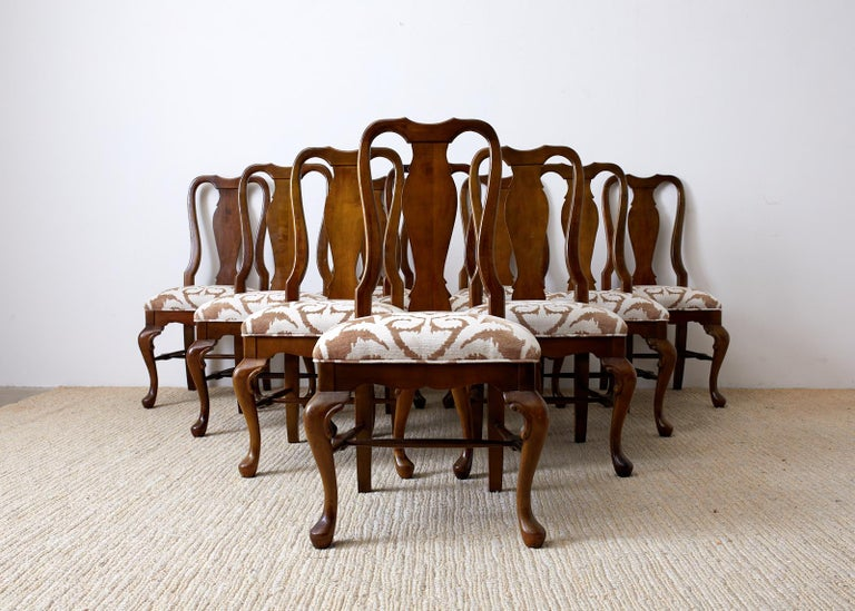 Set of Ten Queen Anne Style Mahogany Dining Chairs For Sale 5