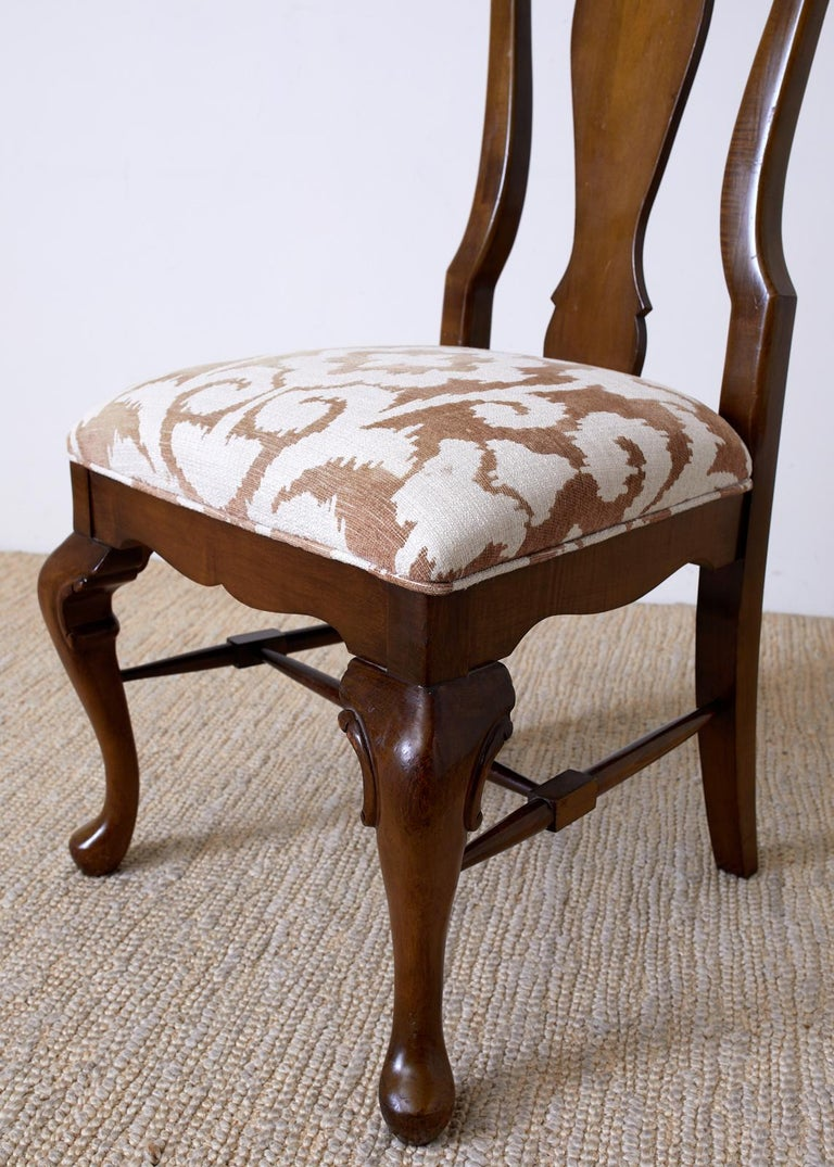 Set of Ten Queen Anne Style Mahogany Dining Chairs For Sale 7